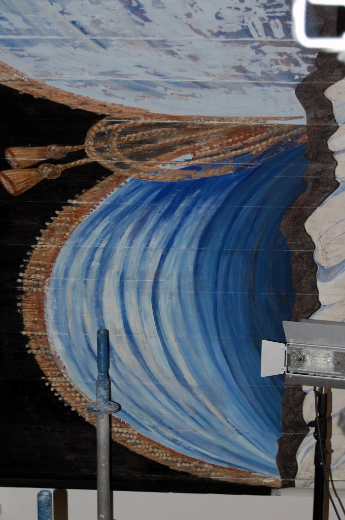 Gordijnschildering in proces voor Laurentiuskerk.